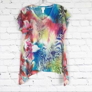 Chico's Multicolored Flower Print T-shirt